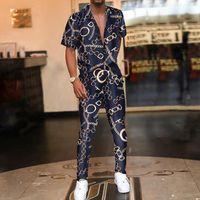남성용 트랙스 패션 캐주얼 짧은 소매 셔츠와 긴 바지 복장 빈티지 인쇄 된 망 여름 두 조각 세트 남자 2021 hipster stree