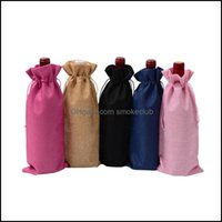 Other Table Aessories Kitchen, Dining Bar Home & Gardenburlap Bags 15*35Cm Champagne Wine Bottle Ers Gift Pouch Packaging Bag Wedding Party