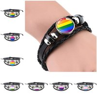 Leather Snap Button Bracelet Glass Cabochon LGBT Gay Pride Rainbow Flag Photo Charm Bangle For Women Men Lovers JeYSFA