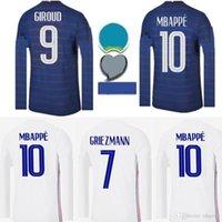 남성 긴 소매 프랑스 2020 2021 축구 유니폼 Maillots 드 축구 마이 틀로 엑스 프랑스 20 21 MBappe Griezmann Kante Pogba