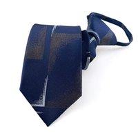 2021 Cravate zip Men 7cm Business Coréen Businatures Cravat de fermeture à glissière Femmes Polyester Facile à tirer Crêche Crousel à rayures Chemise de la poitrine 2pcs / lot