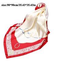 Scarves Female Silk Satin Scarf 90cm*90cm Square Fashion Floral Print Kerchief Shawl And Wrap Hijab Ladies Neck