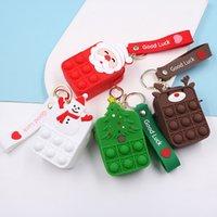 New Christmas Bubble Coin Purse Fidget Toy Push Bubble Santa Wallet Simple Dimple Anti-stress Children Squeeze Toy Elk Bag Gift