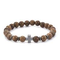 Pulsera de la cruz de la vendimia Mujeres Hematita Pulseras de madera Pulsera elástica Pulsera Partido Yaga Pulseras Regalo de joyería