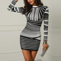 Casual Dresses Fashion Women Long Sleeves O-Neck Slim Bodycons Striped Printed Zipper Sexy Party Evening Club Mini Dress Vestidos Femme#g3