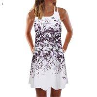 Casual Dresses Vintage Boho Elegant For Women Summer Sleeveless Beach Printed Short Mini Floral Dress Plus Size Clothing