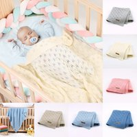 Baby Blankets Knitted Cotton Solid Color Newborn Bebes Sleeping Bed Stroller Blanket Covers Soft Infantil Swaddle Wrap Multi-use 899 X2