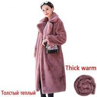 Talla grande 2021 Mujeres de invierno de alta calidad. Abrigo de piel sintética de alta calidad gruesa cálida abrigos largos abrigos de mujer