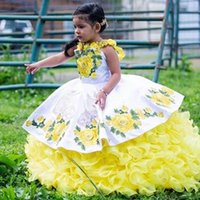 Girl's Dresses White Yellow Mini Pageant Quinceanera For Little Girls Halter 3D Floral Flowers Lace Flower Girl First Communion Dress