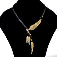 Pendant Necklaces Feather Leaf Necklace Leather Rope Multi-layer For Women Jewelry & Pendants Clavicle Sweater Chain S135