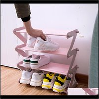 Holders Racks Simple Stainless Steel Assembled Shoe Rack Save Space Slippers High Heels Home Dormitory Foldable 4 Layer Storage Organi D3Njr