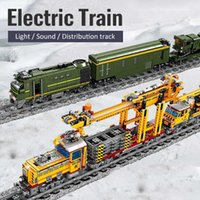 City track Electric engineering Train Power-Driven light sound Building Block Technical car DIY Bricks education Toy For kids Q0624