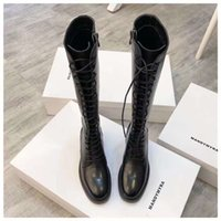 2021 Newest Designer boots women shoes logo fashion luxury metal chain knee long Thigh-High lace-up special elegant temperament solid cowhide 35-40