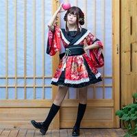 Traditional Japanese Costume Kimono Dress For Women Sakura Yukata Tutu Kawaii Girls Anime Cosplay Haori Party Stage Ethnic Clothing