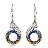 Fashion Nirvana Phoenix Earrings Necklace Jewelry Set Rainbow Crystal Peacock Zircon Drop Earring Bracelet for Women 2926 Q2