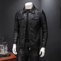 Giacca da uomo in cuoio sincero giacca da uomo 2021 primavera e autunno in pelle di pecora Slim tascabile maschio moto ragazzo adolescente nero 901