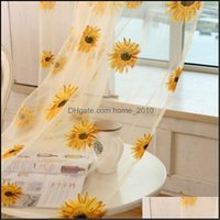 Treatments Textiles & Garden Transparent Screen Sunflower Printed Colorf Window Door Curtain For Home Party Living Room Decorations Wholesal