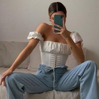 Off Shoulder Fashion Lace Up Shirts Blouse Women White Crop Tops Blouses T-shirt Casual Party Christmas Shirt Women's &