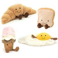 Sevimli Trakzel Crossant Tost Ekmek Gıda Peluş Oyuncak Dolması Karikatür Dondurma Baget Koach Yumurta Dekor Bebek Kız Çocuklar Doğum Günü Y0726