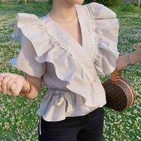 Nueva Llegada Moda Blusa Mujeres Verano Rayado Casual Elegante Volón Fresco Oficina Dama Temperamento Temperamento Salvaje Tendencia Slim Shirts