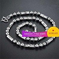 Korean Version Men's Round Hexagonal Bobbin Car Flower Buddha Bead Necklace Domineering Copper Plated 925 Silver Chain