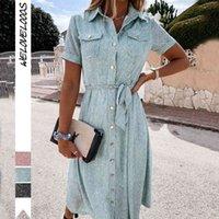 Sommer Casual Floral Print Kleid Frauen Elegante Einreiher Gürtel Kurzarm Hemd Weibliche Boho Midi Beach ES