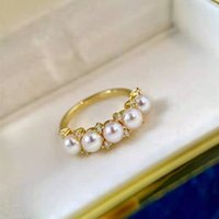 Fresh Water Pearl Ring 925 Sterling Sliver CZ Cluster Anniversary Statement Rings 18k Gold Plated