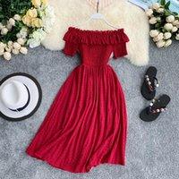 여름 우아한 드레스 여성들은 고체 솔리드 vestidos 달콤한 껍질 A-line 높은 허리 드레스 로브 femme 25896 210417