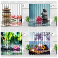 Shower Curtains 3D Stone Zen Garden Curtain Set Pink Lotus Candle SPA Waterproof Polyester Bathroom Decor Accessory Fabric Bath