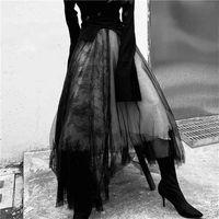 ماكسي طويل فاخر لينة تول تنورة الدانتيل خياطة القوطية الأبيض الأسود مطوي توتو التنانير النسائية خمر تنجيا lange rok jupes 210408