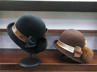 Wide Brim Hats 202109-YY Winter French Style Real Hair Ball Pompon Wool Dinner Formal Leisure Lady Bucket Cap Women Fishermen Hat