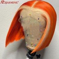 180% Turuncu Sarışın Bob Ombre Dantel Ön Peruk Brezilyalı Remy Renkli İnsan Saç Peruk Kadınlar için PRECKED