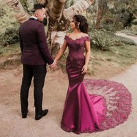 Charming Fuchsia Evening Dress Mermaid Lace Off The Shoulder Lady Long Prom Gowns Formal Occasion Reception Dresses 2022 Custom Made Plus Size Dubai