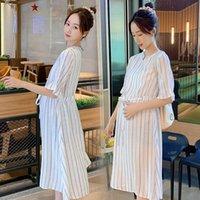 Verano Vertical Rayas Algodón Vestido de maternidad Chic Ins Instrucciones De Moda Cintura Delgada Una Línea Ropa Para Mujeres Embarazadas Vestidos Embarazos