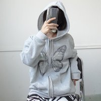 Women's Jackets Gray Y2K Fashion Oversized Butterfly Graphic Rhinestone Zip Up Hoodies E-girl 90s Streetwear Diamond Grey Long Jacket Autumn