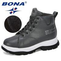BONA Women Winter Boots Lace Up Martin Woman Ankle Plush Brand Warm Female Shoes Ladies Footwear 211021