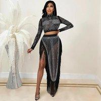 Roupas étnicas 2 piece conjuntos femininos Crop top e longa saia africano Dashiki Diamond Suits Night Party Dresses Sexy Club Outfits África