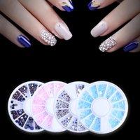 Nail Art Decorations 4 Colors set AB Crystal Horse Eye Heart Round Shape Flat Back Acrylic Non Fix Jelly Rhinestones For 3D