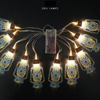 Ramadan Eid Party Supplies Mubarak LED atmosfera luzes de corda Castelo em forma de noite muçulmano Decorações de férias