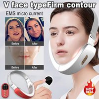 Multi-Functional V Face Typefirm Contour Blue LED Photon Therapy EMS Micro Current Lifting Firming Vibration Massager Double Chin Pressure Reducer Beauty Gadgets