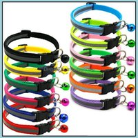 Leashes Supplies Home & Garden Breakaway Cat Dog With Bells Reflective Nylon Collar Adjustable Pet Collars For Cats Or Small Dogs 12 Colors
