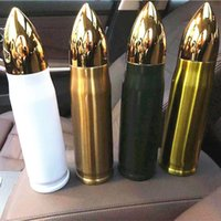 17oz Süblimasyon Bullet Tumbler Isı Transferi Mermiler Şekli Fincan Boşlukları Vakum Yalıtımlı Su Şişesi 3 Renkler