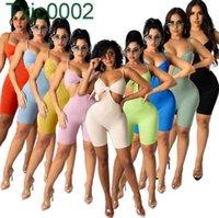 Kadın Tasarımcılar Giysileri 2021 Hollow Perspektif Seksi Yaz Rahat Eşofman Mesh 2 Parça Kısa Setleri Bayanlar Kısa Kollu Tayt Kıyafetler