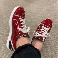 패션 이름 브랜드 신발 빨간색 하단 운동화 낮은 탑 스파이크 구두 재미 주니어 스파이크 플랫 가죽 / 메쉬 리벳 다시 단어 야외 워킹 트레이너