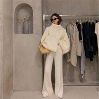 Women's Two Piece Pants Sweater Set Autumn Thin 2021 Winter Lazy Wind White High Neck Wide Leg Waist Knitted Floor Mop