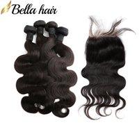 Brazilian Virgin Human Hair Bundles with Closures 4pc Hair Weft+1pc Lace Closure 4x4 Body Wave Hair Extensions 5pcs Bellahair