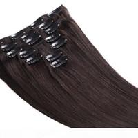 Grau 7a - Clipe na extensão do cabelo 100% cabelo humano cabelo peruano 6 pcs onda reta cabeça completa 180g conjunto