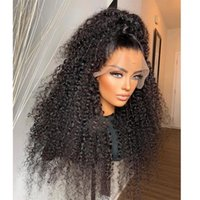 Lace Wigs 250 Density Kinky Curly Ponytail 360 Front Malaysia Remy Human Hair 13x3 For Black Women