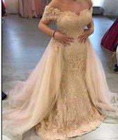 champagne Silver Off Shoulder Lace Evening Dresses With Detachable Train Appliques ruched Long Mermaid prom Gowns Plus Size Abendkleider vestaglia donna