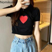 Nomikuma Y2k Tops Love Heart Printed O Neck Short Sleeve T Shirt Women 2021 Summer Chic Casual High Street Tshirts Camisetas Women's T-Shirt